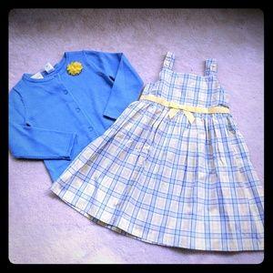 Gymboree plaid dress and cardigan